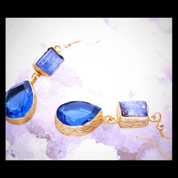 Gold plated Kyanite & Hydro Quartz Earrings